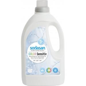 Sodasan, Organic Жидкое средство Color-sensitiv для чувствительной кожи и для ДЕТСКОГО белья, для стирки цветных и белых вещей  (от 30°), 1,5 л = 20 стирок = 68-135 кг вещей