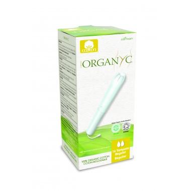 Corman Organyc, Тампоны из органического хлопка с аппликатором REGULAR для слабых выделений (2 капельки), 16 шт.