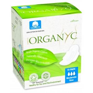 Corman Organyc, Гігієнічні прокладки з крильцями для помірних виділень (3 крапельки) в індивідуальній упаковці, 10 шт.