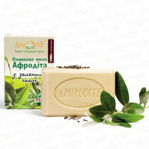 APHRODITE, Натуральное Оливковое мыло с ЗЕЛЕНЫМ ЧАЕМ, 125г