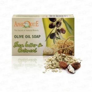 APHRODITE, Натуральное Оливковое мыло с МАСЛОМ ШИ И ОВСЯНКОЙ, 100г