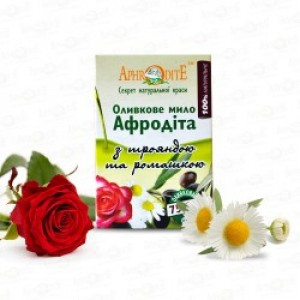 APHRODITE, Натуральное Оливковое мыло с РОМАШКОЙ И РОЗОЙ, 125г