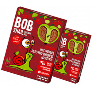 BOB SNAIL Равлик Боб, Натуральные конфетки ЯБЛОЧНО-ВИШНЕВЫЕ, 120г