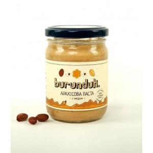 BURUNDUK, Натуральна арахісова паста з МЕДОМ, 250гр