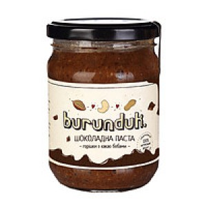 BURUNDUK, Натуральна паста шоколадна з горішками і какао бобами, 180гр