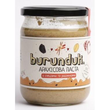 BURUNDUK, Натуральна арахісова паста зі спеціями і родзинками, 450гр