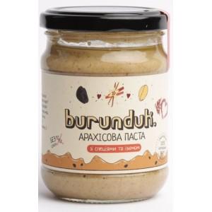 BURUNDUK, Натуральна арахісова паста зі спеціями і родзинками, 250гр