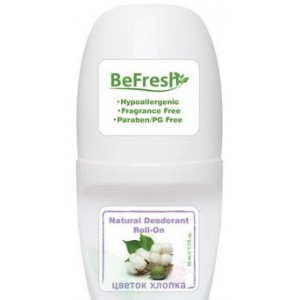 BeFresh, Натуральный роликовый дезодорант для тела ЦВЕТОК ХЛОПКА, 50мл