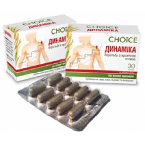 Choice, Фитокомплекс ДИНАМИКА борьба с хронической усталостью на основе прозеров (пророщенных зерен овса, пшеницы и кукурузы), 30 капсул по 400 мг