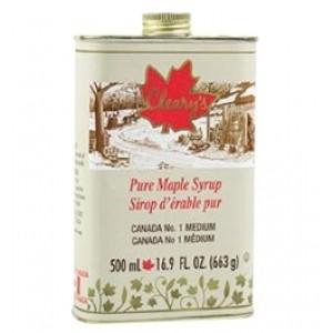 Cleary's, Чистый канадский Кленовый Сироп СРЕДНИЙ, Металлическая фляга, CANADA #1 MEDIUM, 500 мл