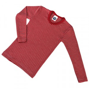 Cosilana, Кофта з довгим рукавом дитяча з шелко-вовни (30% шовк, 70% органічна мериносова шерсть), Колір: Червоний / Натур