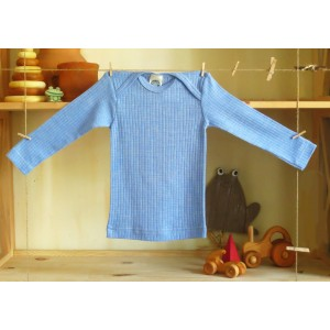 """Cosilana, Кофточка с длинным рукавом """"тройное качество"""" (45% хлопка, 20% шелка, 35% шерсти), Цвет: Голубой"""