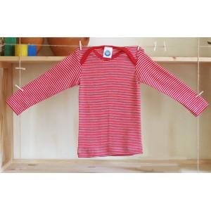 Cosilana, Кофточка с длинным рукавом из шелко-шерсти (30% шелка, 70% шерсти), Цвет: Красный/натур