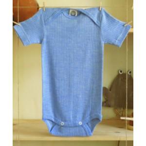 """Cosilana, Боді з коротким рукавом """"потрійне якість"""" (45% бавовни, 20% шовку, 35% вовни), Колір: Блакитний"""