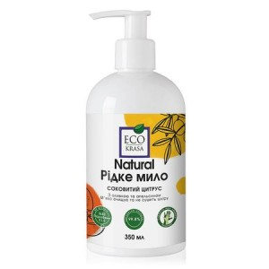 ECO KRASA, Натуральное жидкое мыло «Сочный цитрус» с оливковым маслом и эфирными маслами апельсина и петитгрейна, 350мл