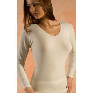 Hocosa, Жіноча кофта з шелко-вовни (30% шовк, 70% органічна мериносова шерсть) з V-подібною горловиною, Колір: Натуральний