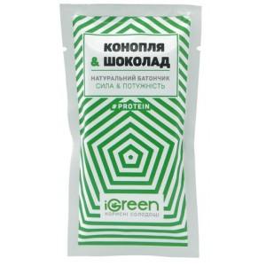 IGREEN, Натуральный батончик Конопля&Шоколад, 40г