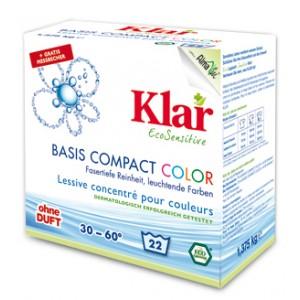 KLAR, Клара Органічний пральний порошок для кольорової білизни Колор 30 ° - 60 ° Basis Compact Color Klar, 4,75 кг = 76 прань