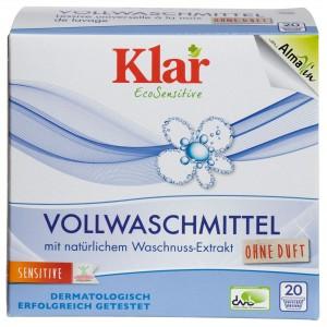 KLAR, Клара Органічний Універсальний пральний порошок з екстрактом мильного горіха 30 ° - 95 ° Vollwaschmittel Klar, 1,1 кг = 20 прань