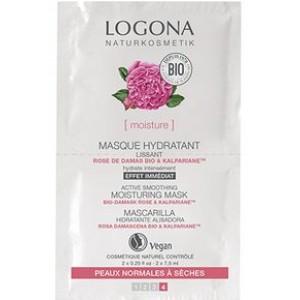 Logona, БИО-Маска для лица увлажняющая для сухой и чувствительной кожи Роза, 2*7,5мл (двойное саше)