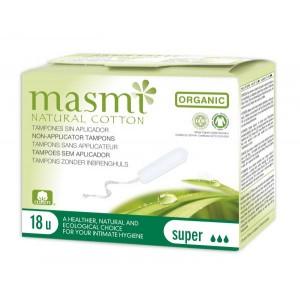 MASMI, Органічні бавовняні тампони без аплікатора Super (9-12 гр, 3 крапельки) для нормальних і сильних виділень, 18 шт.