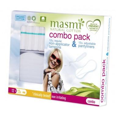 MASMI, Набор Комбо (12 Органических тампонов Regular без апликатора + 12 Органических ежедневных прокладок Мультиформ)