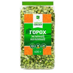 NATURAL GREEN, Горох зеленый колотый, 400 г