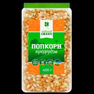 NATURAL GREEN, Кукуруза поп-корн, 400 г