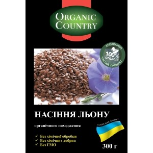 ORGANIC COUNTRY, Насіння коричневого льону органічні, 300 гр