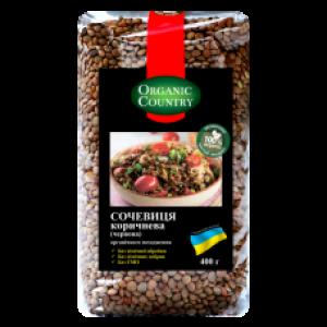 ORGANIC COUNTRY, Чечевица коричневая ОРГАНИЧЕСКАЯ, 400 гр