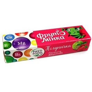 PASTIFOOD, Детская фруктовая пастила ФРУТОМИНКА без сахара КЛУБНИЧКА, 25г