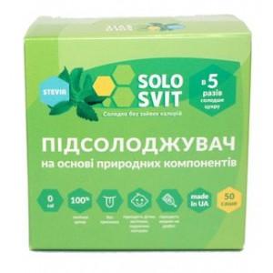"""SOLOSVIT, Подсластитель """"СолоСвитStevia+"""", саше 50 шт"""