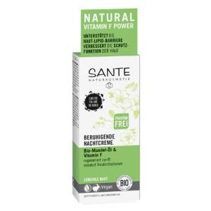 Sante, БИО-Крем ночной успокаивающий для чувствительной кожи лица Миндаль и витамин F, 50мл