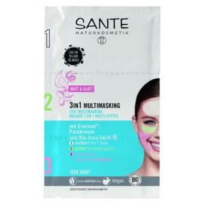 Sante, БИО-Мульти-маска 3в1 для увлажнения, омоложения и матирования T-зоны лица, 3*3мл