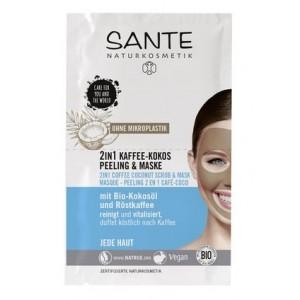 Sante, БИО-Маска-скраб для лица 2в1 Кофе и Кокос, 2*4мл
