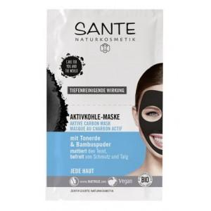 Sante, БИО-Маска для лица Active Carbon от черных точек,  2*4мл