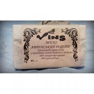 VINS, Натуральное мыло ручной работы АВТОРСКИЙ РЕЦЕПТ с отваром коры дуба и эфирным маслом чайного дерева, 80г