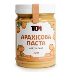 ТОМ, 100% натуральное арахисовое масло НЕЙТРАЛЬНОЕ, 300 г