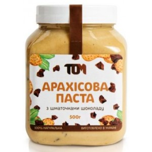 ТОМ, 100% натуральное арахисовое масло С ШОКОЛАДНОЙ КРОШКОЙ, 500 г