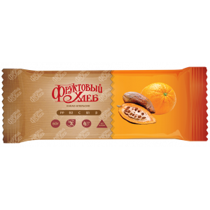 Батончик Фруктовый хлеб, КАКАО-АПЕЛЬСИН, без сахара, 60г