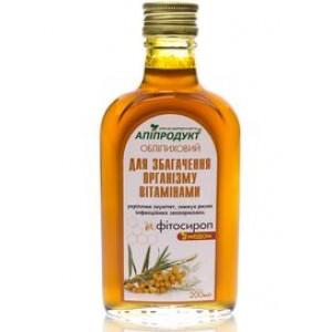 Облепиховый фито сироп с медом ВИТАМИННЫЙ , 100% натуральный продукт, 200 мл