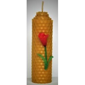 Свічка з вощини декорована натуральним воском, висота 10см, діаметр 3 см