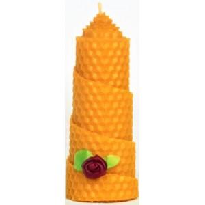 Свічка з вощини декорована натуральним воском, висота 10см, діаметр 4.5см