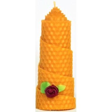 Свеча из вощины декорированная натуральным воском, высота 10см, диаметр 4.5см