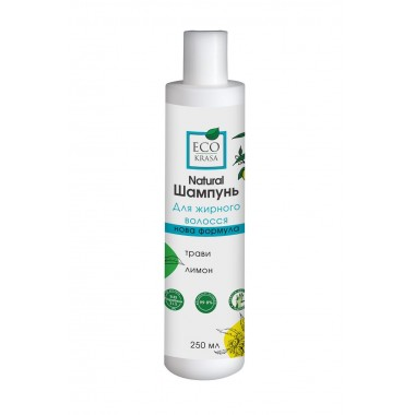"""ECO KRASA, Натуральный шампунь для жирных волос """"Травы и лимон"""", 250мл"""